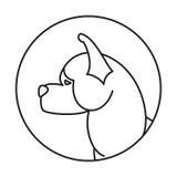 Emblema lineare con il cane Fotografie Stock