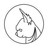 Emblema lineare con il cane Fotografia Stock Libera da Diritti