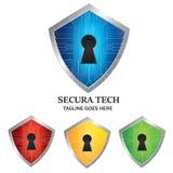 Emblema Logo Vector Design di protezione dello schermo di sicurezza della serratura di tecnologia fotografie stock libere da diritti