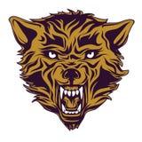 Emblema, logotipo, tatuagem, cabeça de um lobo Foto de Stock
