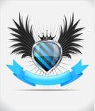 Emblema lustroso do protetor no fundo branco Imagens de Stock Royalty Free