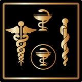Emblema médico do símbolo dos ícones do cartão do ouro do vetor Imagens de Stock Royalty Free