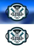 Emblema marino con el casquillo y el catalejo del capitán Foto de archivo