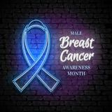 Emblema masculino del mes de la conciencia del cáncer de pecho, símbolo de Blue Ribbon Imagen de archivo