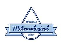 Emblema meteorológico del saludo del día del mundo Imagen de archivo libre de regalías