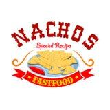 Emblema mexicano do menu do fast food das microplaquetas de milho dos Nachos Fotografia de Stock