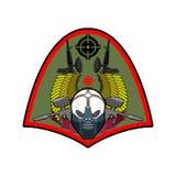 Emblema militar Logotipo de Paintball Muestra del ejército Cráneo en protector Fotos de archivo libres de regalías