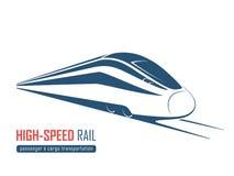 Emblema moderno del tren de alta velocidad, icono, etiqueta, silueta Foto de archivo