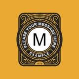 Emblema moderno, distintivo, modello del monogramma Linea elegante di lusso illustrazione dell'ornamento della struttura di vetto Immagine Stock Libera da Diritti