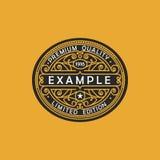 Emblema moderno, insignia, plantilla del monograma Línea elegante de lujo ejemplo del ornamento del marco del vector del diseño d Foto de archivo libre de regalías