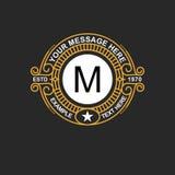 Emblema moderno, insignia, plantilla del monograma Línea elegante de lujo ejemplo del ornamento del marco del vector del diseño d Fotografía de archivo libre de regalías