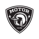 EMBLEMA MONOCROMÁTICO DEL CLUB DEL MOTOR stock de ilustración