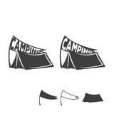 Emblema monocromatico di una tenda con una bandiera Logo per il campeggio Illustrazione di vettore illustrazione di stock