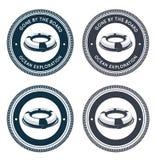 Emblema náutico com anel de vida Imagens de Stock Royalty Free