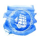 Emblema náutico com navio de navigação Fotos de Stock Royalty Free