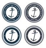 Emblema náutico con el ancla Imágenes de archivo libres de regalías