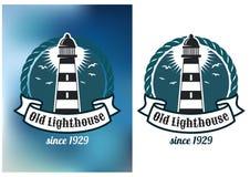 Emblema náutico del tema con el faro Foto de archivo libre de regalías