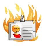Emblema na flama ilustração royalty free