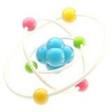 Emblema nano de la tecnología como estructura atómica Fotografía de archivo libre de regalías