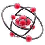 Emblema nano de la tecnología como estructura atómica Imagen de archivo