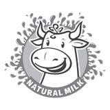Emblema natural fresco do leite Imagem de Stock