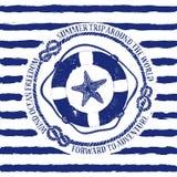 Emblema nautico con il salvagente e le stelle marine illustrazione vettoriale