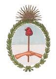 Emblema nazionale dell'Argentina isolato su bianco Immagini Stock