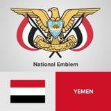 Emblema nazionale e bandiera dell'Yemen Fotografia Stock Libera da Diritti