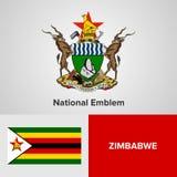Emblema nazionale e bandiera dello Zimbabwe Immagine Stock