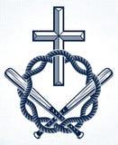 Emblema o logo del delinquente del gangster con Christian Cross, il tatuaggio di vettore, l'anarchia ed il caos illustrazione vettoriale