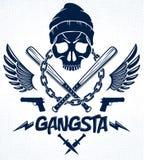 Emblema o logotipo brutal del gángster con los bates de béisbol agresivos del cráneo y otras armas y elementos del diseño, crimen libre illustration