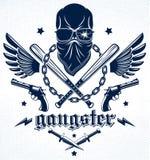 Emblema o logotipo brutal del g?ngster con los bates de b?isbol agresivos del cr?neo y otras armas y elementos del dise?o, crimen ilustración del vector