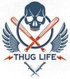 Emblema o logotipo criminal brutal de la cuadrilla con los bates de b?isbol agresivos del cr?neo y otras armas y elementos del di stock de ilustración