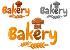Emblema o logotipo de la panadería hecho de la hornada en historieta Fotos de archivo