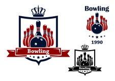 Emblema o simbolo del club di bowling Fotografia Stock Libera da Diritti