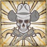Emblema ocidental selvagem do grunge do vintage com revólveres e crânio, ilustração do vetor dos desenhos animados ilustração do vetor
