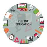 Emblema online di istruzione Fotografie Stock