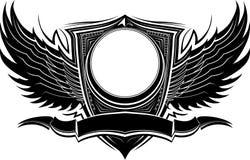 Emblema ornamentado com asas e molde da bandeira Foto de Stock