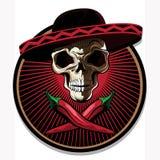 Emblema ou ícone mexicano do crânio Fotografia de Stock Royalty Free