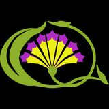 Emblema ou logotipo sob a forma de uma flor de um cravo Imagens de Stock Royalty Free