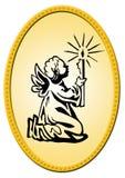 Emblema oval do Natal Fotografia de Stock