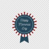Emblema patriótico do vetor de Memorial Day com texto ilustração stock