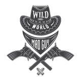 Emblema pazzo del cowboy del tipo Immagine Stock Libera da Diritti