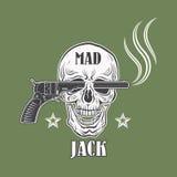 Emblema pazzo del cowboy di Jack Immagini Stock Libere da Diritti