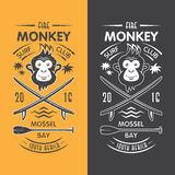 Emblema praticante il surfing del club della scimmia Fotografie Stock