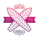 Emblema praticante il surfing di corsi, logo sopra bianco Fotografia Stock