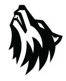 Emblema preto do uivo do lobo Fotos de Stock Royalty Free