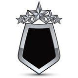 Emblema preto festivo do vetor com as estrelas do esboço e da prata Fotografia de Stock