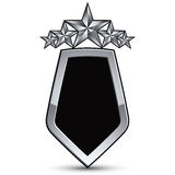 Emblema preto festivo do vetor com esboço e as cinco estrelas de prata Fotos de Stock Royalty Free