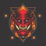 Emblema principal del demonio rojo stock de ilustración